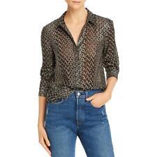 Equipment Femme Womens Leema Silk Metallic Button-Down Top Blouse Bhfo 0823