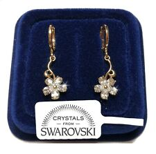 Fiori pendente 30mm Orecchini Donna pl. oro giallo 18K con Cristalli Swarovski