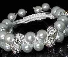 3pcs/lot 10mm Double row white resin pearl hot Beads Crystal Shamballa Bracelet