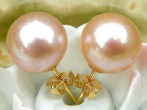Charming AAA++ real round 9-10mm pink south sea pearls earring 14k yellow gold