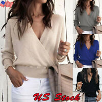 Womens V Neck Sweater Jumper Wrap Tops Ladies Long Sleeve Loose Blouse Shirts US