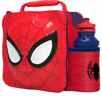 3D Spiderman Lunch Bag with Bottle Kids Thermal Lunchbox Food Drink Storage