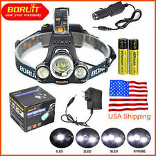 Headlamp 15000LM XM-L 3x CREE LED BORUiT Headlight 18650 Battery Head Light Lamp
