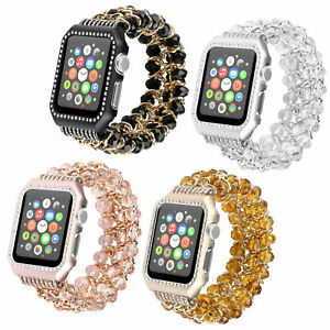 Crystal Beads Bracelet Band Strap+Protect Case For Apple Watch Series 6 5 4 3 SE