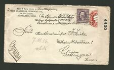1916 U.S. Stationery Cover To Germany Sealed With Us Censor Tape