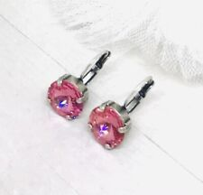 12mm Champagne Rose Pink Drop Earrings made with Rose Pink Swarovski Crystals