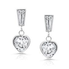Heart Drop Cz Earrings In Stainless Steel, Dangle White Cubic Zirconia Heart Ea