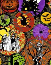Hallowgraphix Brights Witches Skeletons Quilt Fabric - Free Shipping - 1 Yard