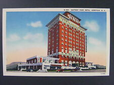 Asheville North Carolina NC Battery Park Hotel Linen Postcard 1930s-40s Vintage