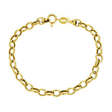 10K Real Yellow Gold Rolo Link Bracelet 7""