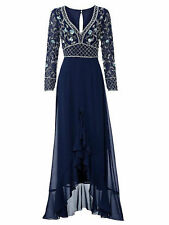 Ashley Brooke Evening Dress Mullet Appliqué Night Blue S Sizes 18 = 36/38