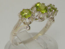 Peridot Band Natural Sterling Silver Fine Rings