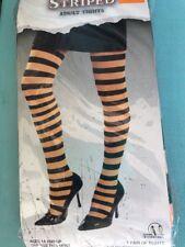 New Adult Halloween Orange Black Stripe Tights Costume Accessory Witch