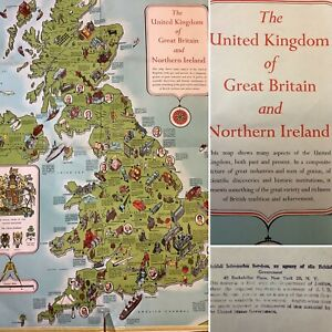 Old Paper Map Of Great Britain & Northern Island Educational Classroom