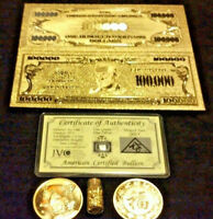 ☆S/&H 27Pc.LOT~COLLECTIBLE GOLD$100K Banknote W//COA+25 MIXED RINGS