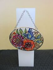 "Amia Stained Glass Suncatcher Small Oval Frilly Floral 42357 4.25"" x 3.25"""
