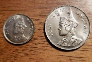Bhutan 1975 Lot of 2(25 Chetrum & 1 Ngultrum) Uncirculated Coins