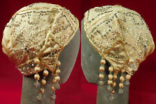 New listing Vintage Art Deco Yellow Silk Embroidery Beaded Tassel Fringe Flapper Cloche Hat