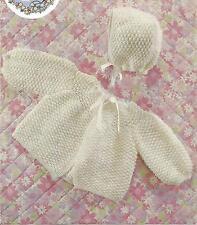 Vintage Knitting Pattern Baby Matinee Coat & Bonnett Pattern 61