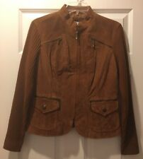 LIVE A LITTLE Womens Suede Leather Brown Jacket Size Medium M Full Zip