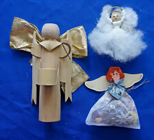 """Christmas ornament lot of 3 Angel 7½"""" wooden drummer to 4"""" dowel ring yarn"""