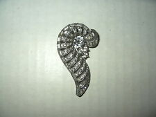 Vintage Signed WEISS Art Deco Silvertone & Clear Crystal Fur-Dress-Scarf Clip