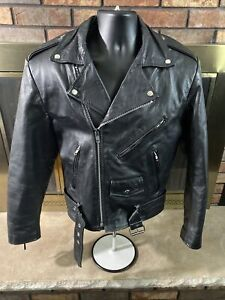 Vintage Wilsons Open Road Full Zip Leather Motorcycle Jacket Coat Mens Sz Small