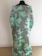 Mint Floral on Striped Jacquard Dressmaking/Soft Furnishing Fabric Offcut