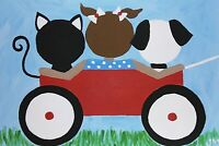 "new! original signed painting ACEO size miniature art ""Red Wagon Friends"""