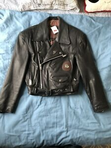 Patchwork Biker Jacket Side Zip Leather Vintage 90s Men Moto Jacket Punk Outerwear Unisex Rocker Jacket 1980s Punk Jacket size Small