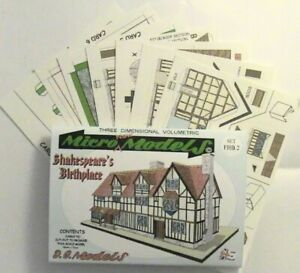 Micromodels SHAKESPEARE'S BIRTHPLACE SET FHB2 Micro New Models card model kit