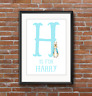 A4 Initial Personalised Peter Rabbit Print Christening Gift Nursery Baby Grey