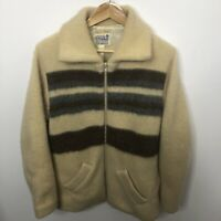 Vintage Caldwell Men Large Wool Sweater Jacket Hipster Canada Curling Shawl