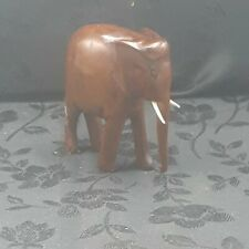 Vintage (2) Small Hand Carved Wood Brown Wooden Asian Elephant Figurines
