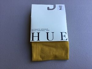 NWT Hue Ultimate Opaque Tights w/ Control Top Size 2 Ochre #1014G