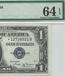 1935B $1 * STAR * ⭐️ SILVER CERTIFICATE, PMG CHOICE UNCIRCULATED 64 EPQ BANKNOTE