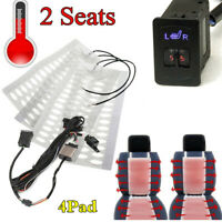 12V Universal 2 Dial 5-Level Switch 2 Seats Car Heated Cushion Seat Heater 4Pad
