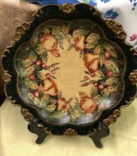 """Imax Pottery Decorative Plate Gold And Black With Fruit 14"""" Round"""