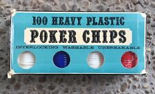 100 Vintage Crisloid Heavy Plastic Poker Chips in Case & Original Box USA