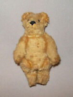 "Old Antique Vtg C 1920s Miniature Teddy Bear 3.5"" Tall Fully Jointed Mohair Nice"