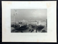 1840 William Bartlett Antique Print View of The City of Boston from Dorchester