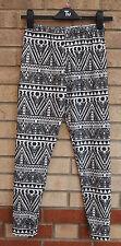 Blanco Negro Tribal Velvet Feel Azteca Leggings Pantalones Pantalones 8 10