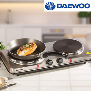 Daewoo 2500W Double Twin Hot Plate Portable Cooker Hob Table Top Caravan Kitchen