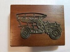 *Vintage* Model T Playing Card (2) Deck Holder Brass Hinged Wooden Box *Exc*