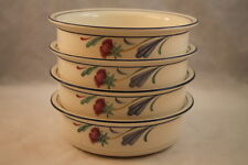 Lenox Poppies On Blue 4 Cereal Bowls Red Flowers Discontinued USA Made