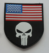 PUNISHER SKULL TACTICAL USA FLAG MILITARY PATCH NEW