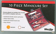 Manicure Set 10 pieces Velour Lined Leatherette Hard Case great Gift Retail Box