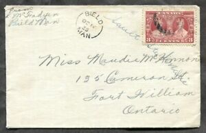 p1352 - BIELD Manitoba 1935 Split Ring on Cover to Fort William ✉