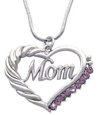MOM Heart Lavender Crystal Pendant Necklace June Birthday Gift For Mom GIFT BOX