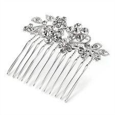 Silver Crystal Metal Wire Hair Comb Daimante Flowers Leaves Wedding Prom Bride